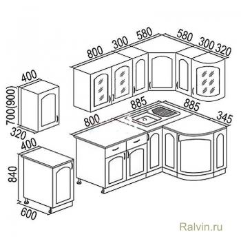 Кухня Тарпеза Классика 1230х2100 с гнутовогнутыми фасадами