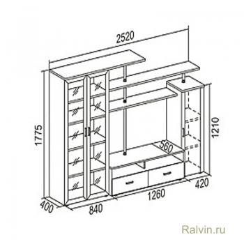 Стенка Соло-4 (Боровичи-мебель)