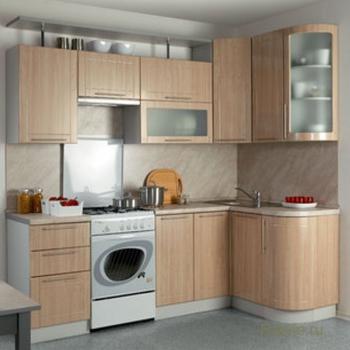 Кухня Престиж 2500х1335 с гнутыми фасадами